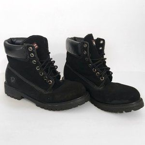 Micro Suede Lace Up Leather Upper Combat Boots